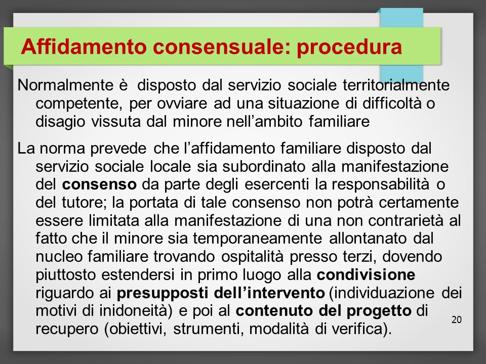 Affidamento consensuale: procedura