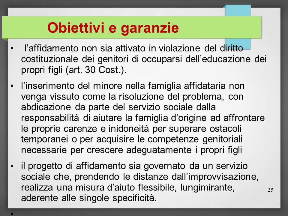 Obiettivi e garanzie