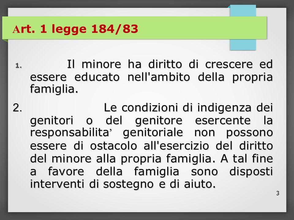 Art. 1 legge 184/83 1. Il minore ha diritto di crescere ed essere educato nell ambito della propria famiglia.