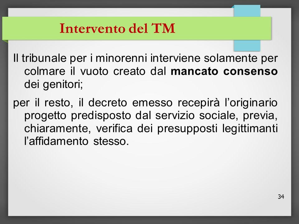 Intervento del TM Il tribunale per i minorenni interviene solamente per colmare il vuoto creato dal mancato consenso dei genitori;