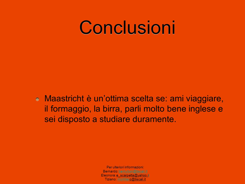 ConclusioniMaastricht è un'ottima scelta se: ami viaggiare, il formaggio, la birra, parli molto bene inglese e sei disposto a studiare duramente.