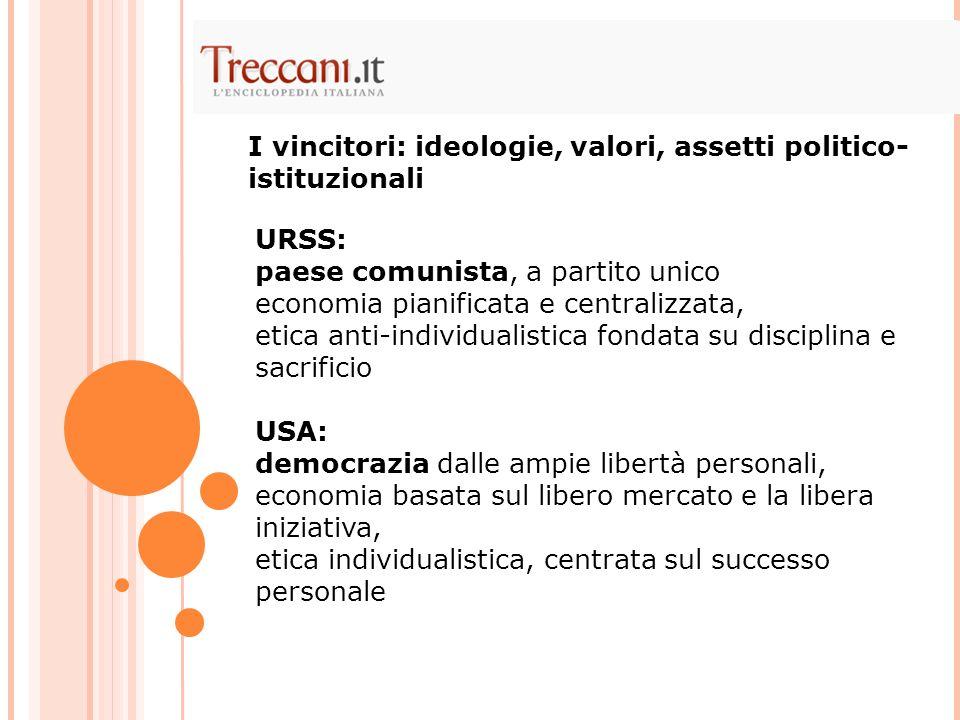 I vincitori: ideologie, valori, assetti politico-istituzionali