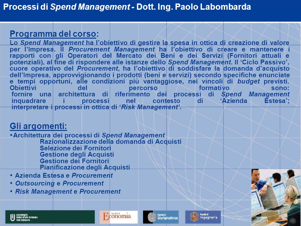 Processi di Spend Management - Dott. Ing. Paolo Labombarda