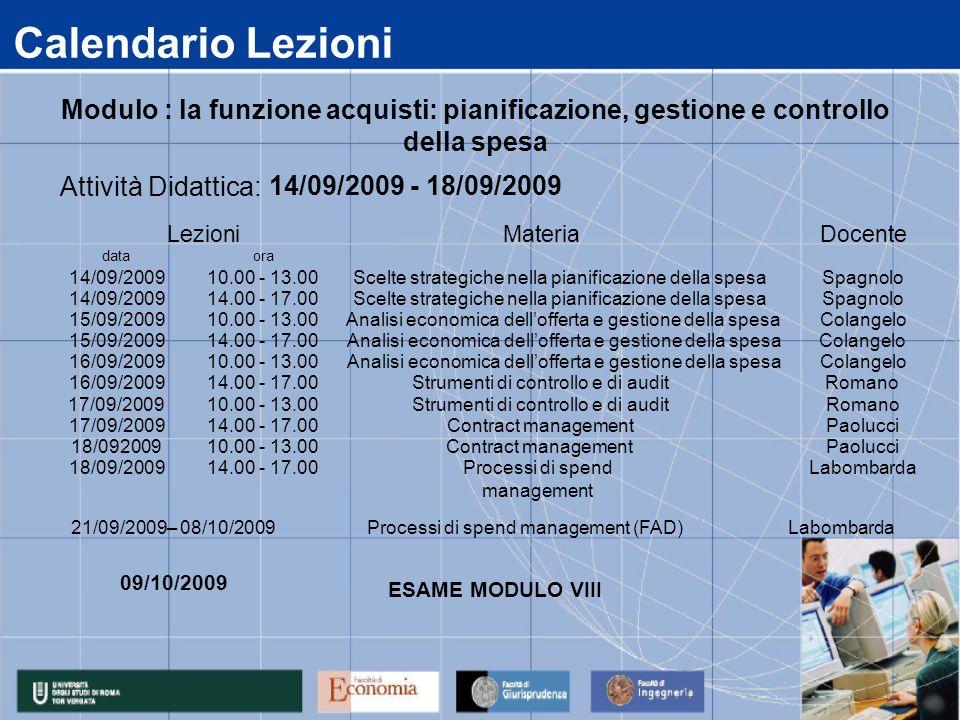 Calendario LezioniModulo : la funzione acquisti: pianificazione, gestione e controllo della spesa. data.