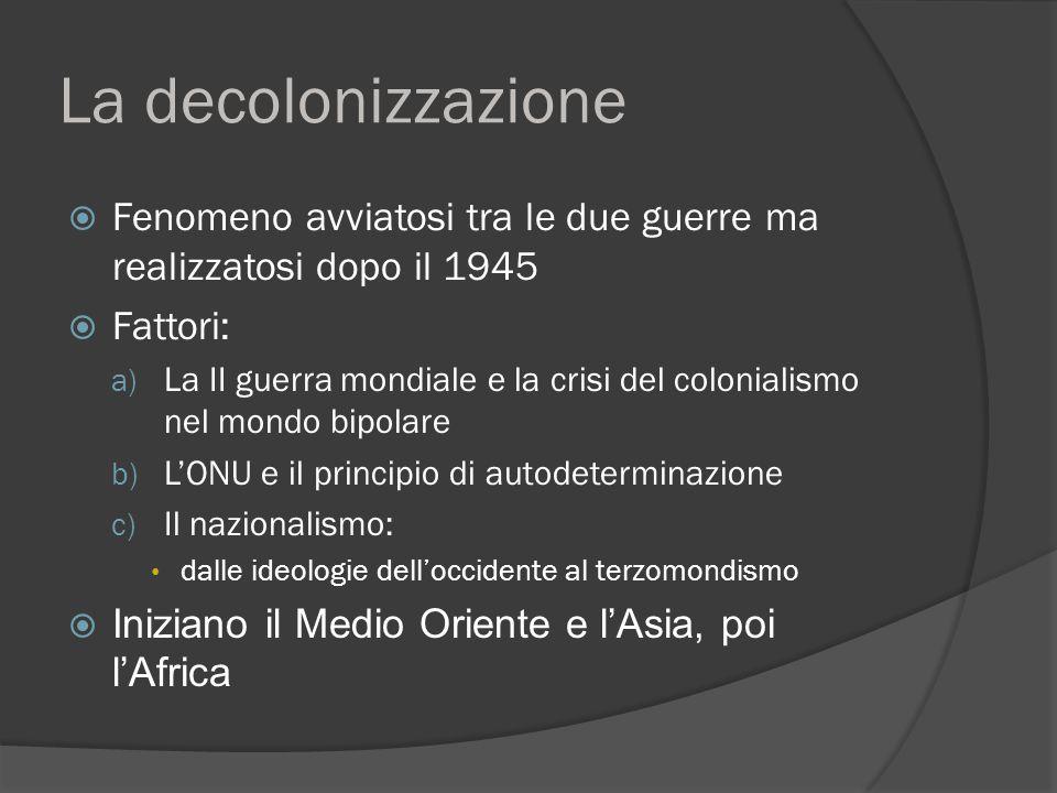 La decolonizzazione Fenomeno avviatosi tra le due guerre ma realizzatosi dopo il 1945. Fattori: