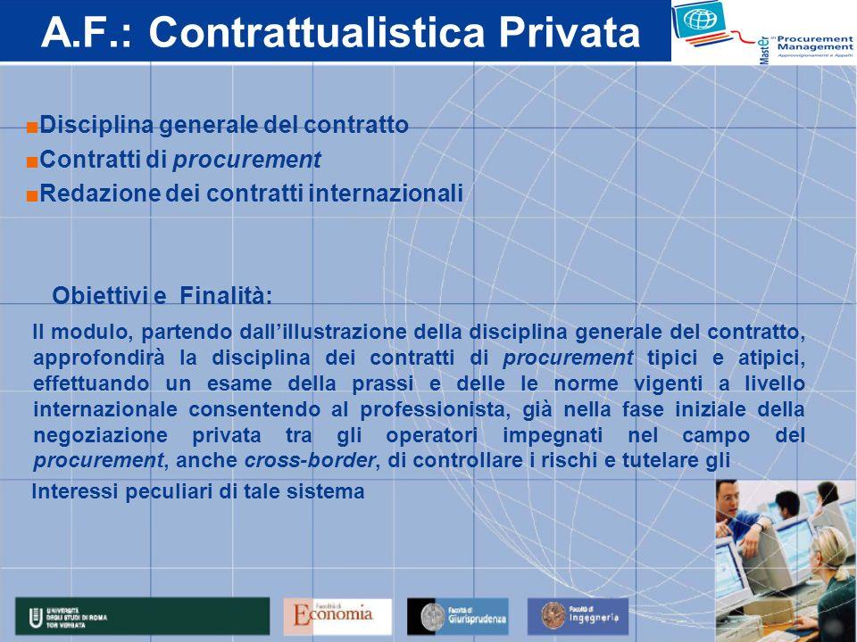 A.F.: Contrattualistica Privata