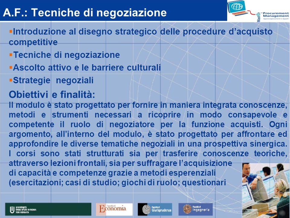 A.F.: Tecniche di negoziazione