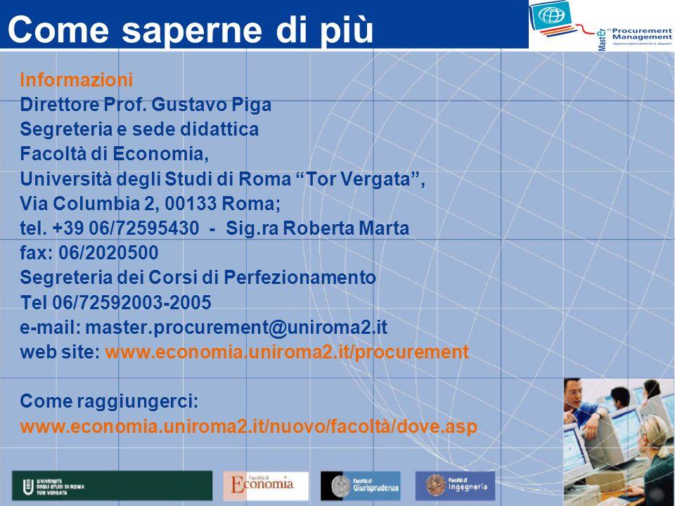 Come saperne di più Informazioni Direttore Prof. Gustavo Piga