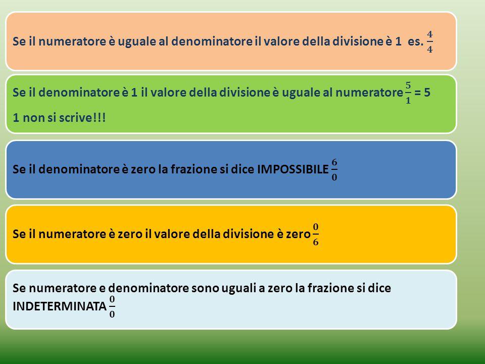 Se il numeratore è uguale al denominatore il valore della divisione è 1 es. 𝟒 𝟒