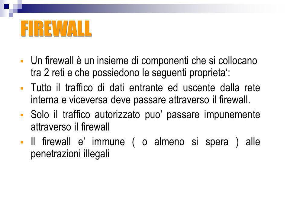 FIREWALLUn firewall è un insieme di componenti che si collocano tra 2 reti e che possiedono le seguenti proprieta':