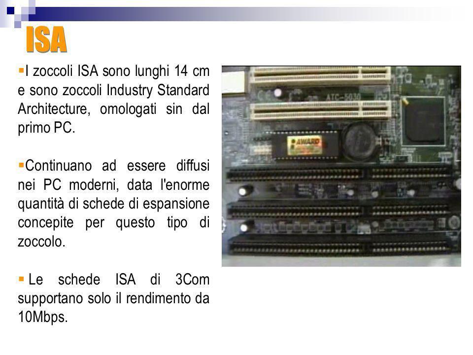 ISAI zoccoli ISA sono lunghi 14 cm e sono zoccoli Industry Standard Architecture, omologati sin dal primo PC.