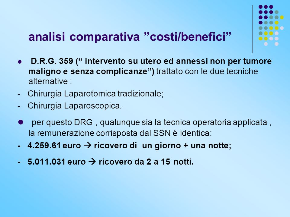 analisi comparativa costi/benefici