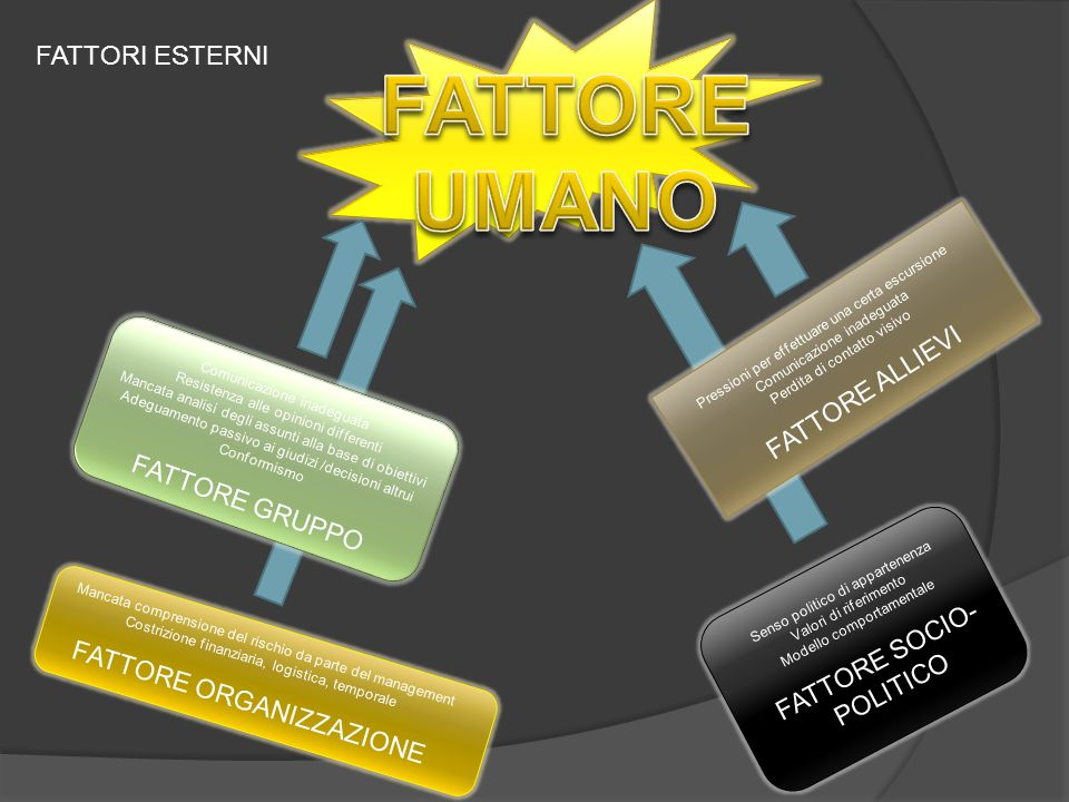 FATTORE UMANO FATTORI ESTERNI FATTORE ALLIEVI FATTORE GRUPPO