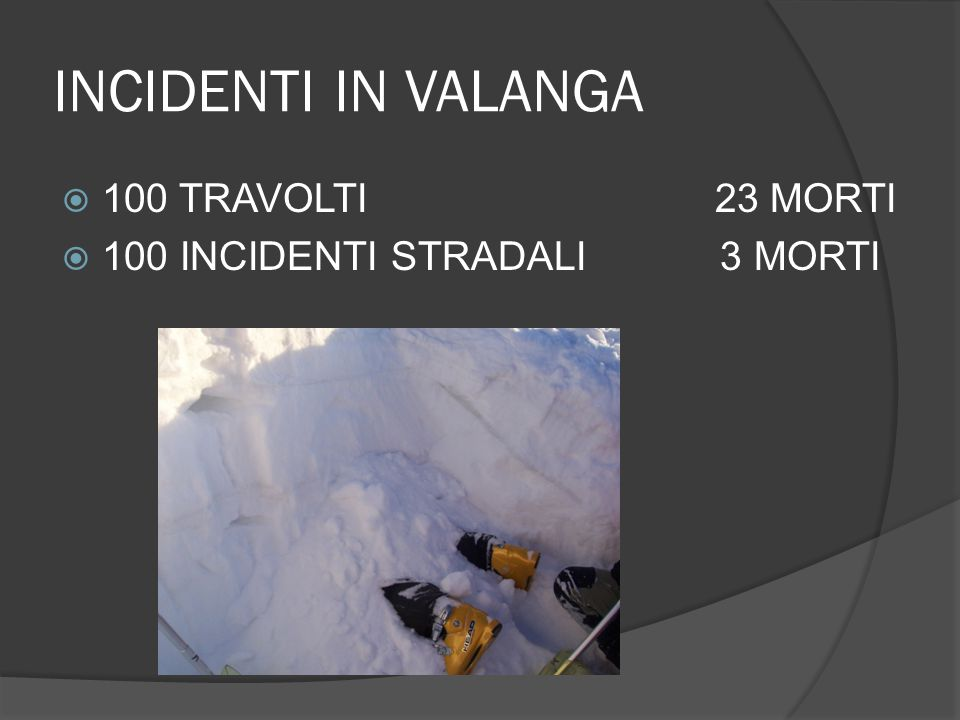 INCIDENTI IN VALANGA 100 TRAVOLTI 23 MORTI