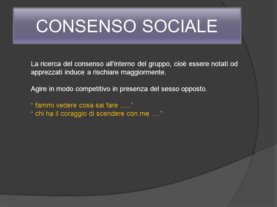 CONSENSO SOCIALE La ricerca del consenso all'interno del gruppo, cioè essere notati od apprezzati induce a rischiare maggiormente.