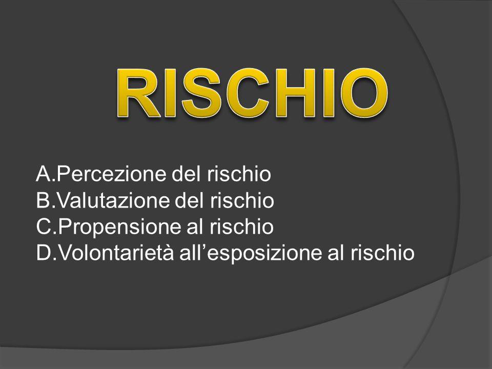 RISCHIO Percezione del rischio Valutazione del rischio