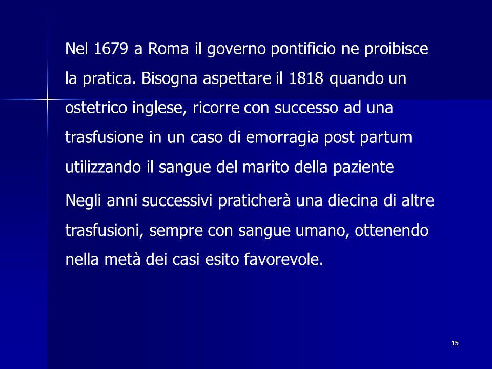 Nel 1679 a Roma il governo pontificio ne proibisce la pratica