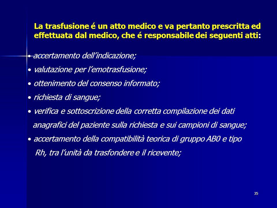 valutazione per l'emotrasfusione; ottenimento del consenso informato;