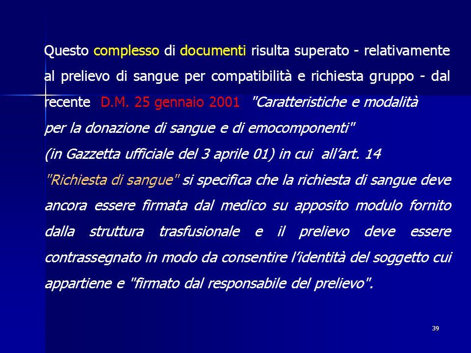 Questo complesso di documenti risulta superato - relativamente al prelievo di sangue per compatibilità e richiesta gruppo - dal recente D.M. 25 gennaio 2001 Caratteristiche e modalità