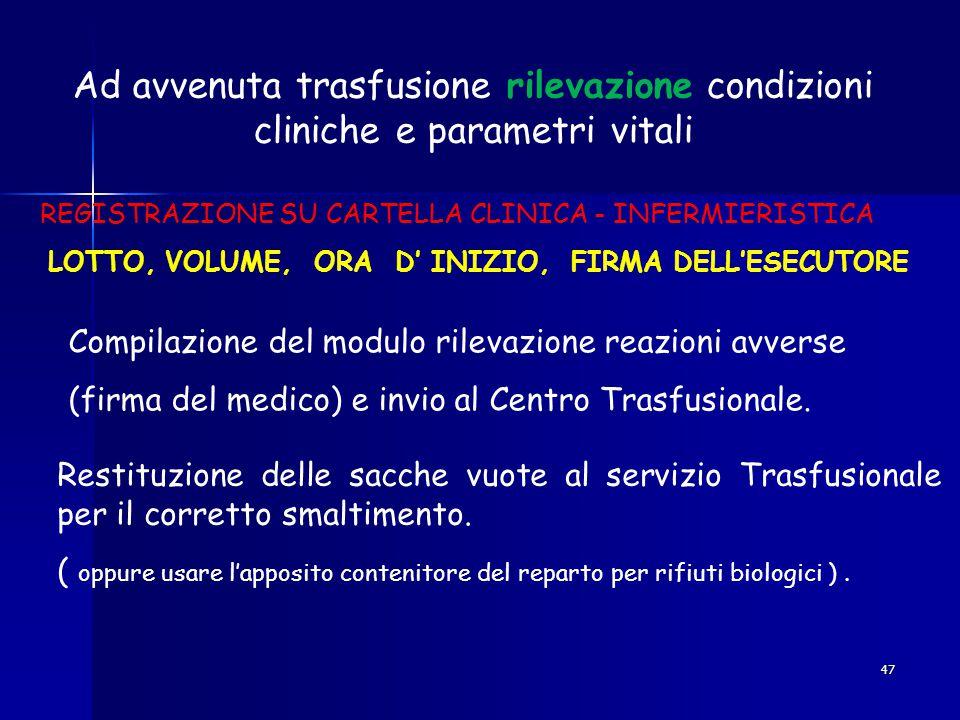 Ad avvenuta trasfusione rilevazione condizioni cliniche e parametri vitali