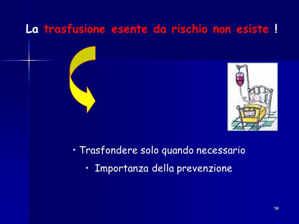 La trasfusione esente da rischio non esiste !