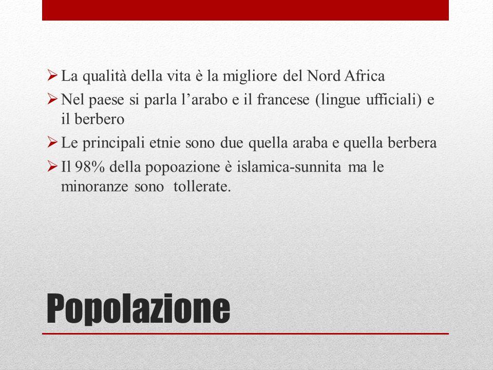 Popolazione La qualità della vita è la migliore del Nord Africa