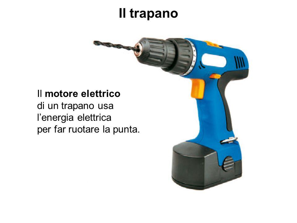 Il trapano Il motore elettrico di un trapano usa l'energia elettrica