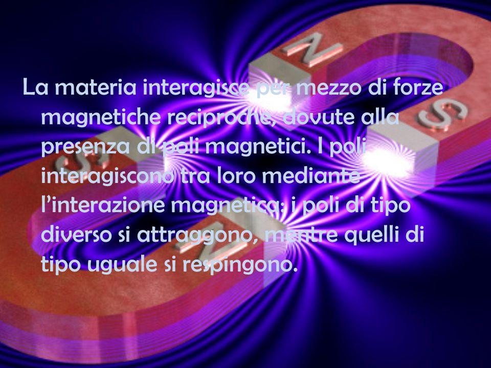 La materia interagisce per mezzo di forze magnetiche reciproche, dovute alla presenza di poli magnetici.