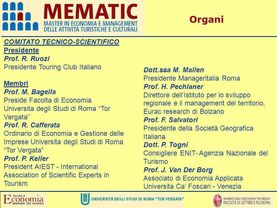 Organi COMITATO TECNICO-SCIENTIFICO Presidente Prof. R. Ruozi