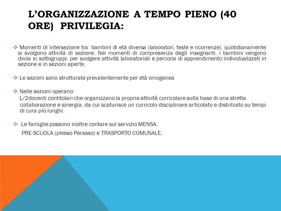 L'organizzazione a tempo pieno (40 ore) privilegia: