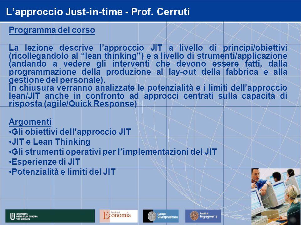 L'approccio Just-in-time - Prof. Cerruti