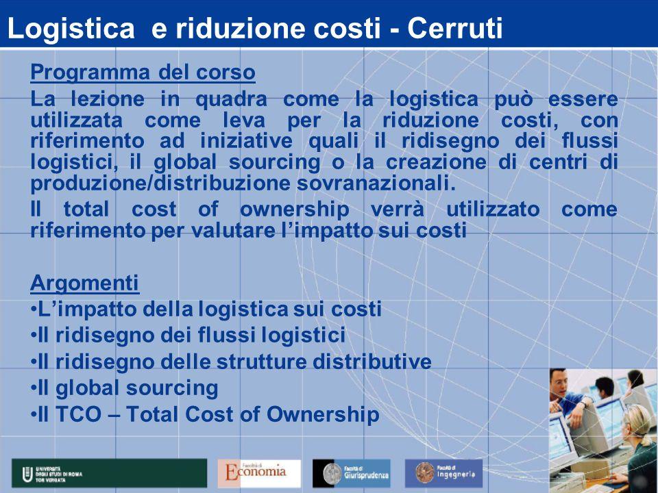 Logistica e riduzione costi - Cerruti