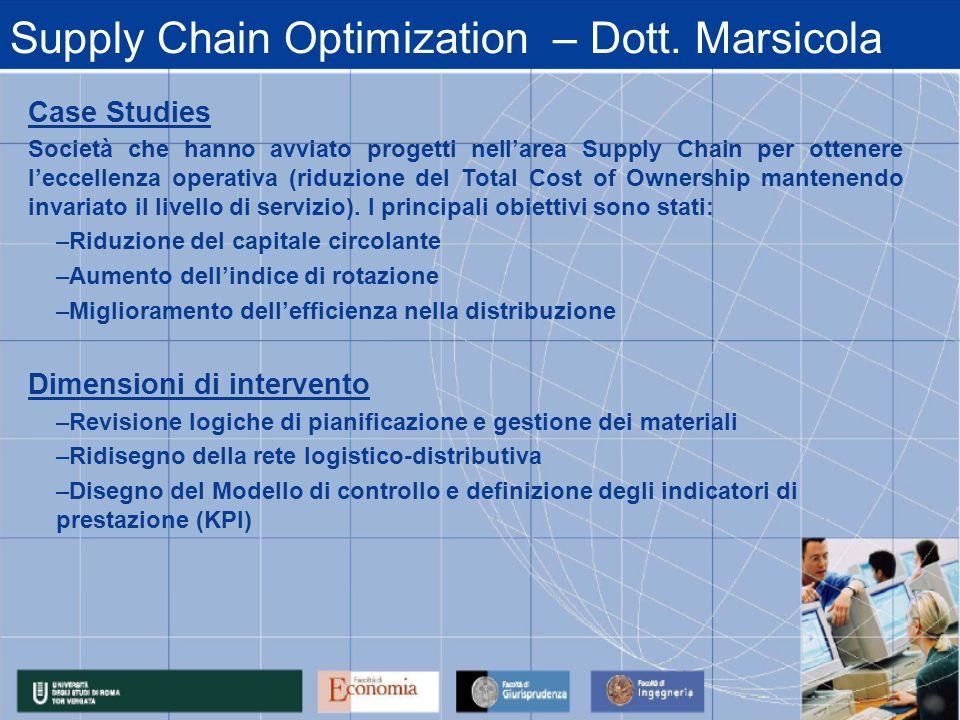 Supply Chain Optimization – Dott. Marsicola