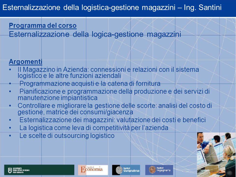 Esternalizzazione della logistica-gestione magazzini – Ing. Santini