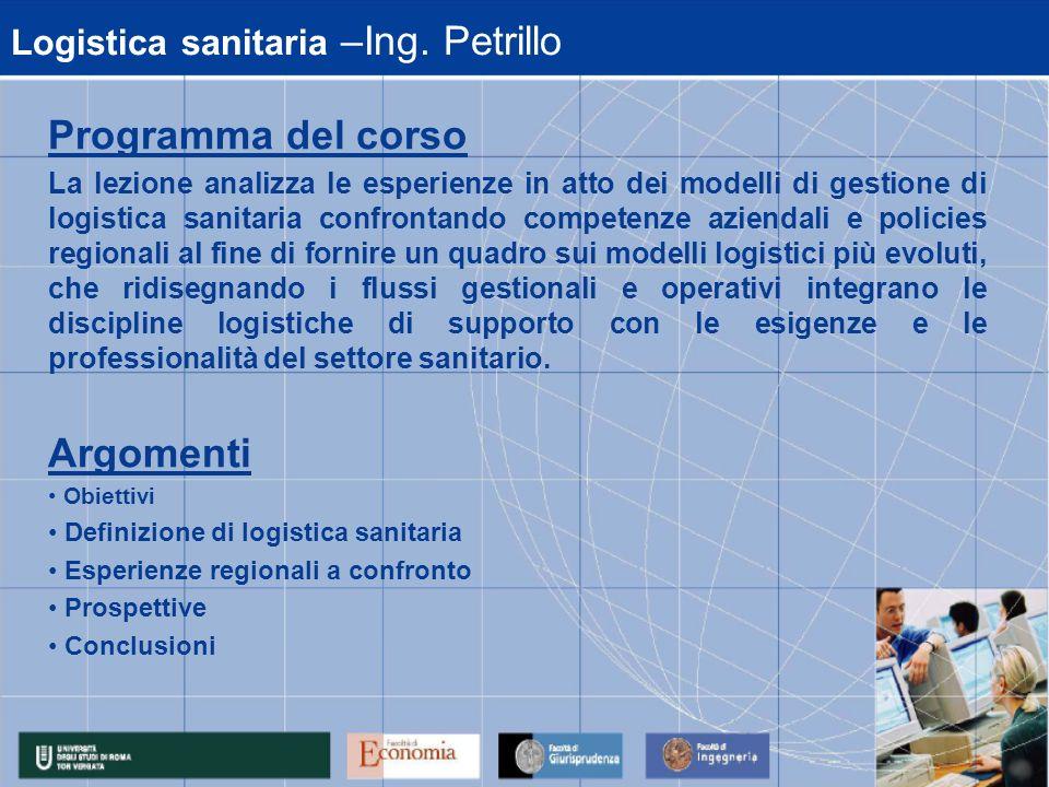 Logistica sanitaria –Ing. Petrillo