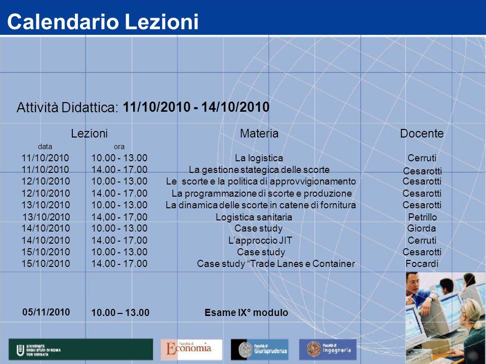 Calendario Lezioni Attività Didattica: 11/10/2010 - 14/10/2010 Lezioni