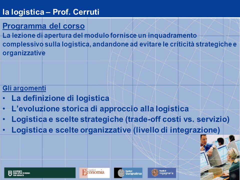la logistica – Prof. Cerruti