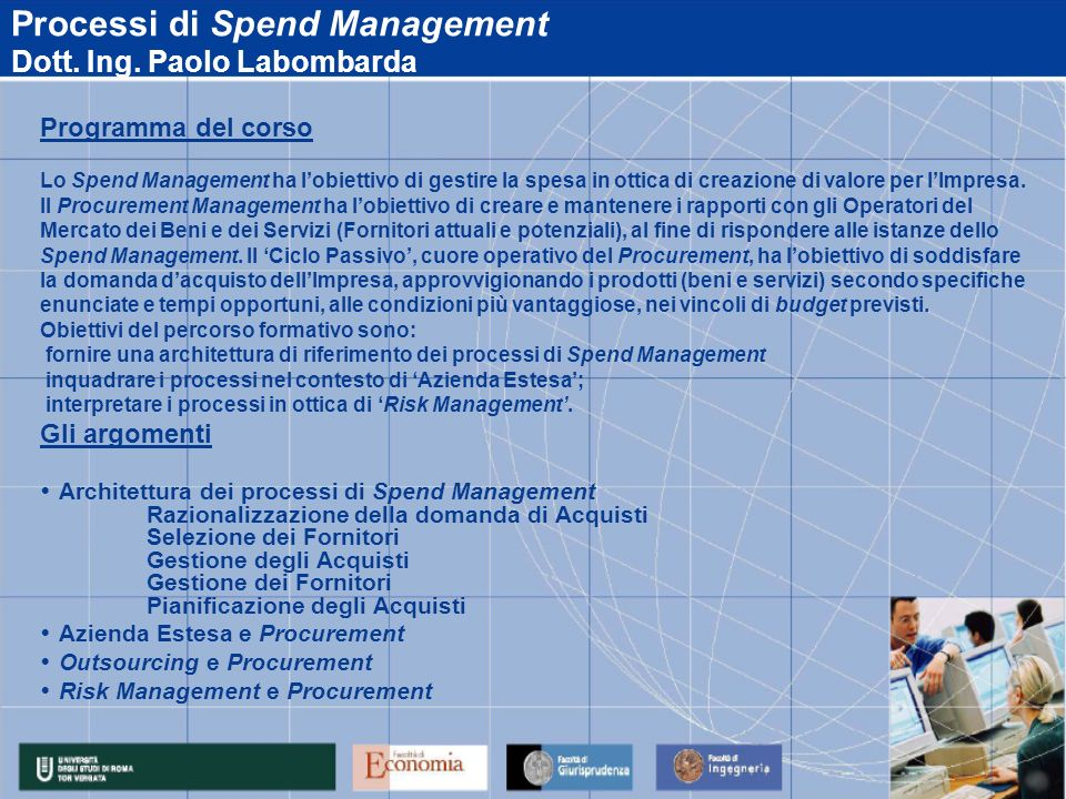 Processi di Spend Management Dott. Ing. Paolo Labombarda