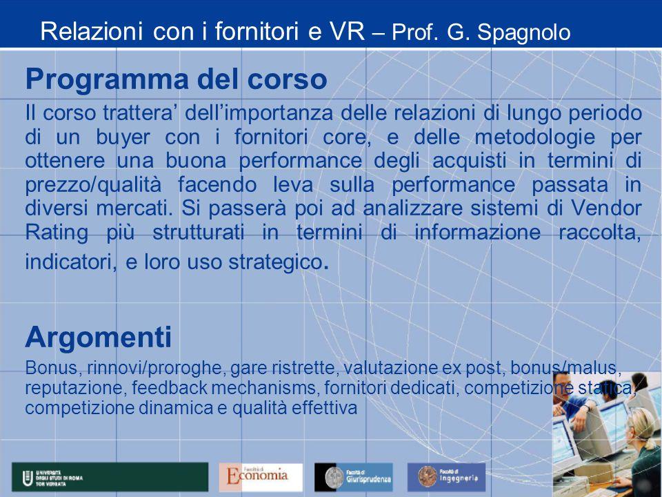 Relazioni con i fornitori e VR – Prof. G. Spagnolo