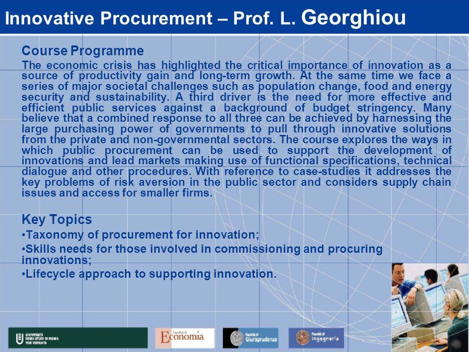 Innovative Procurement – Prof. L. Georghiou