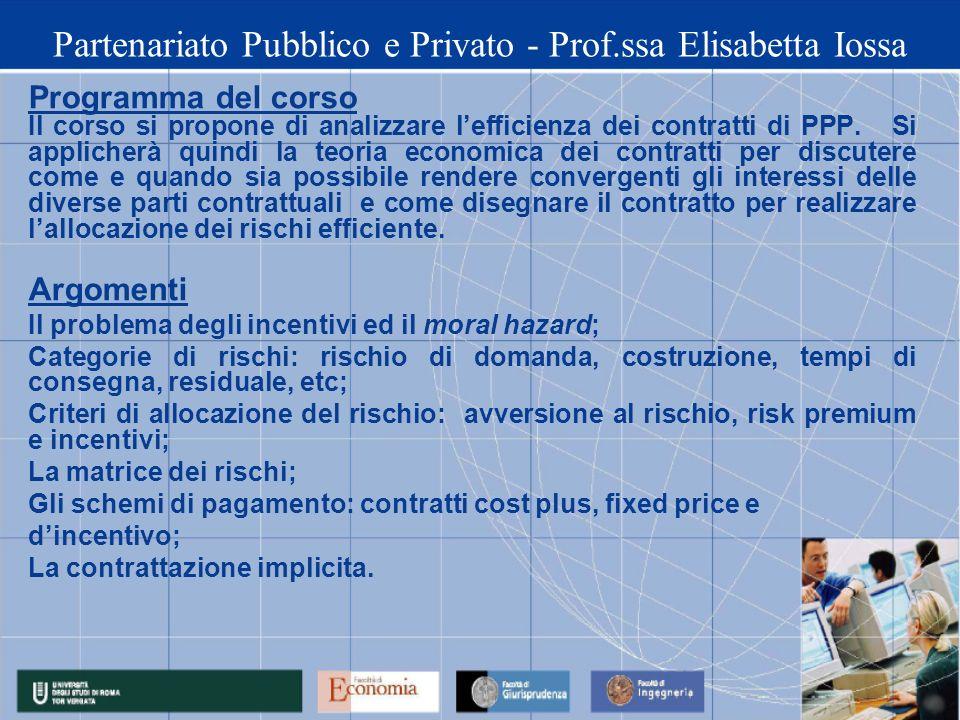 Partenariato Pubblico e Privato - Prof.ssa Elisabetta Iossa