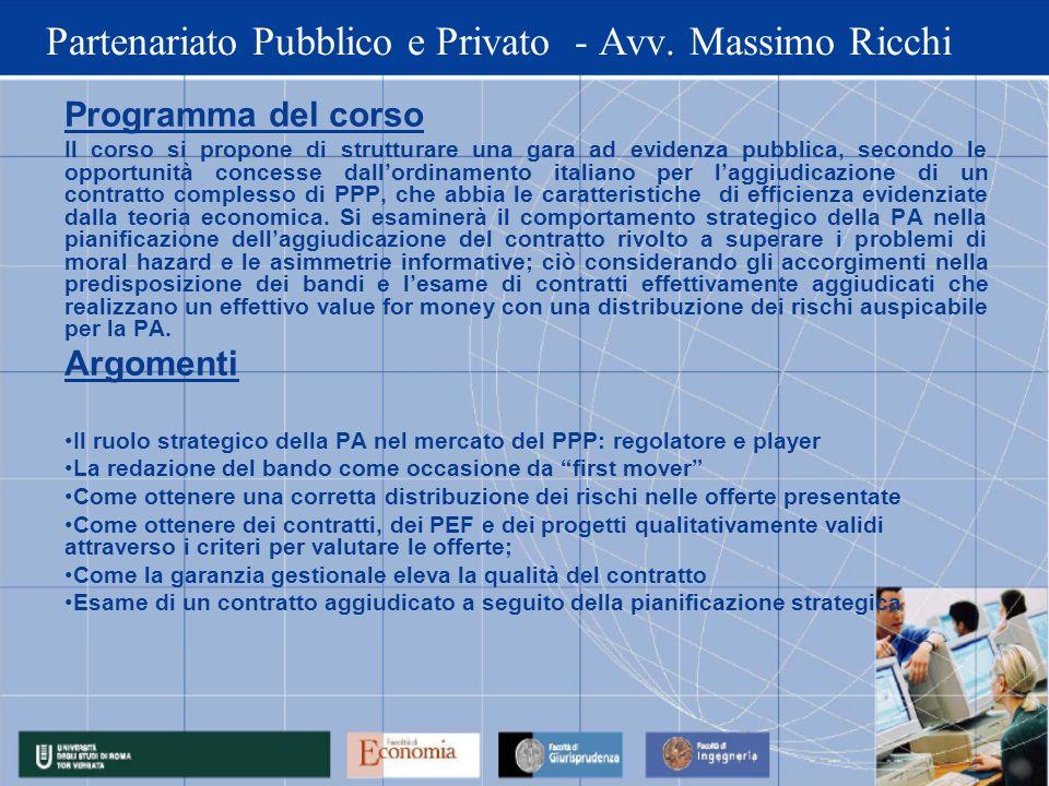 Partenariato Pubblico e Privato - Avv. Massimo Ricchi