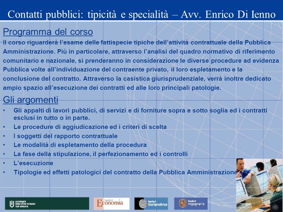 Contatti pubblici: tipicità e specialità – Avv. Enrico Di Ienno
