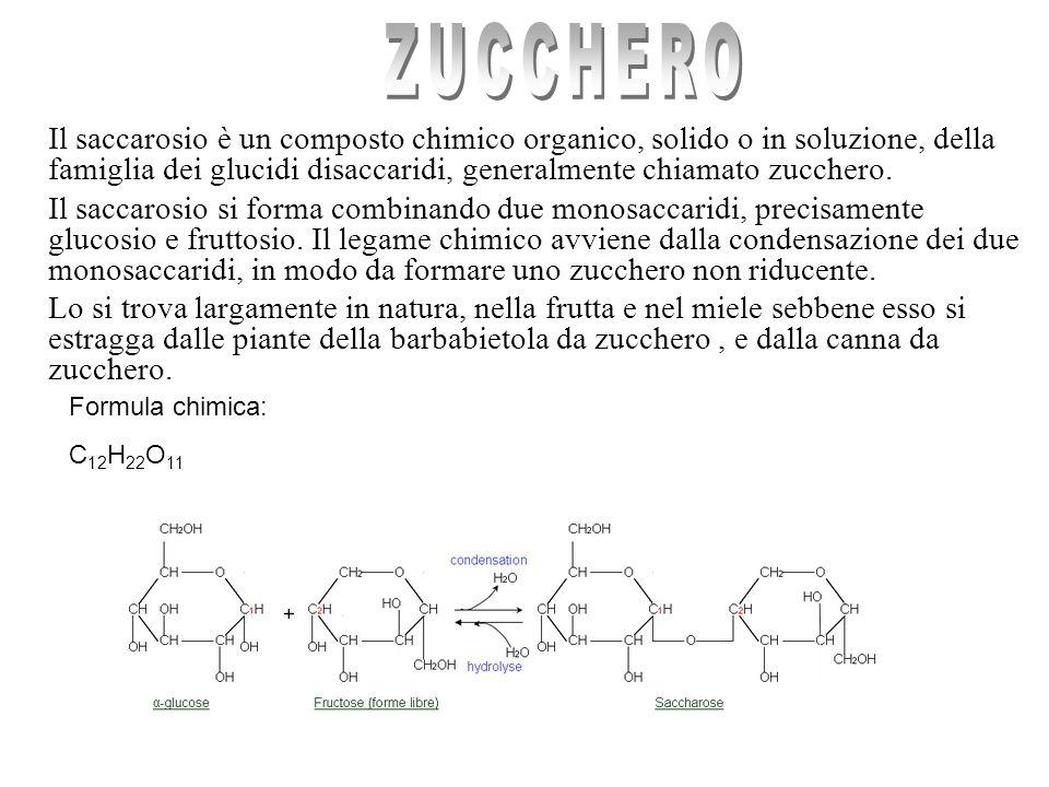 ZUCCHERO Il saccarosio è un composto chimico organico, solido o in soluzione, della famiglia dei glucidi disaccaridi, generalmente chiamato zucchero.