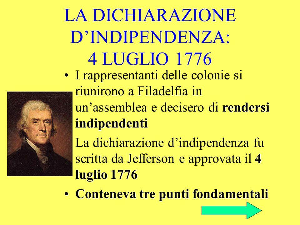 LA DICHIARAZIONE D'INDIPENDENZA: 4 LUGLIO 1776