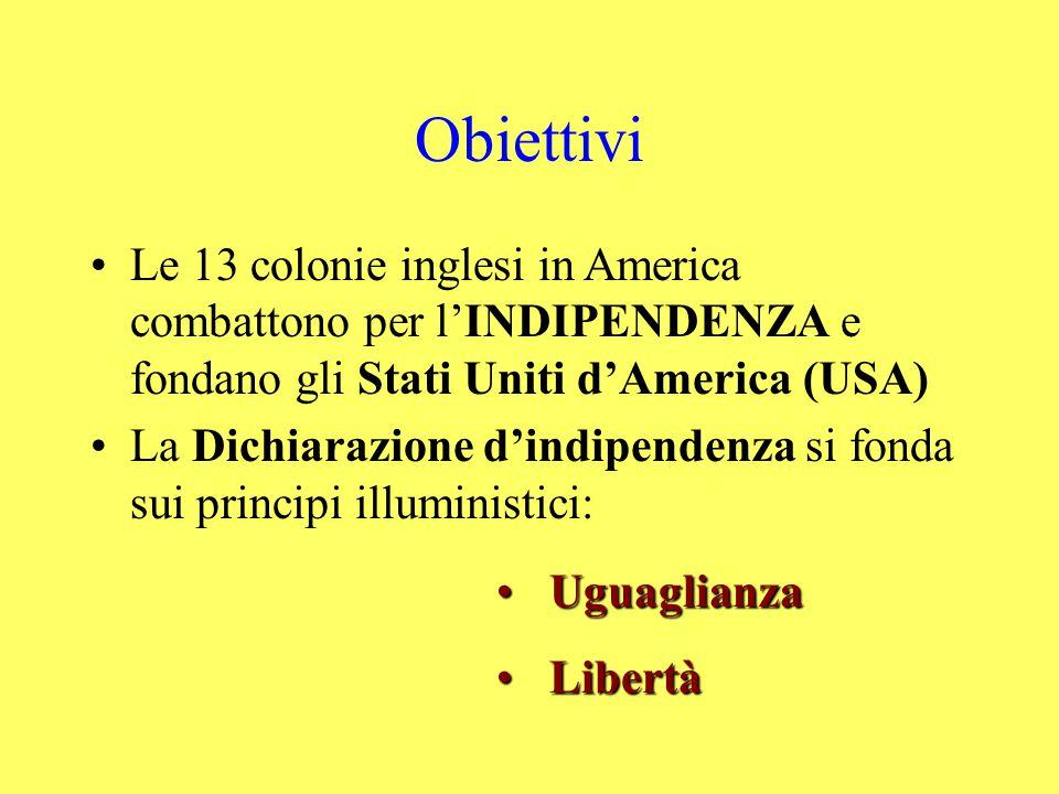 Obiettivi Le 13 colonie inglesi in America combattono per l'INDIPENDENZA e fondano gli Stati Uniti d'America (USA)
