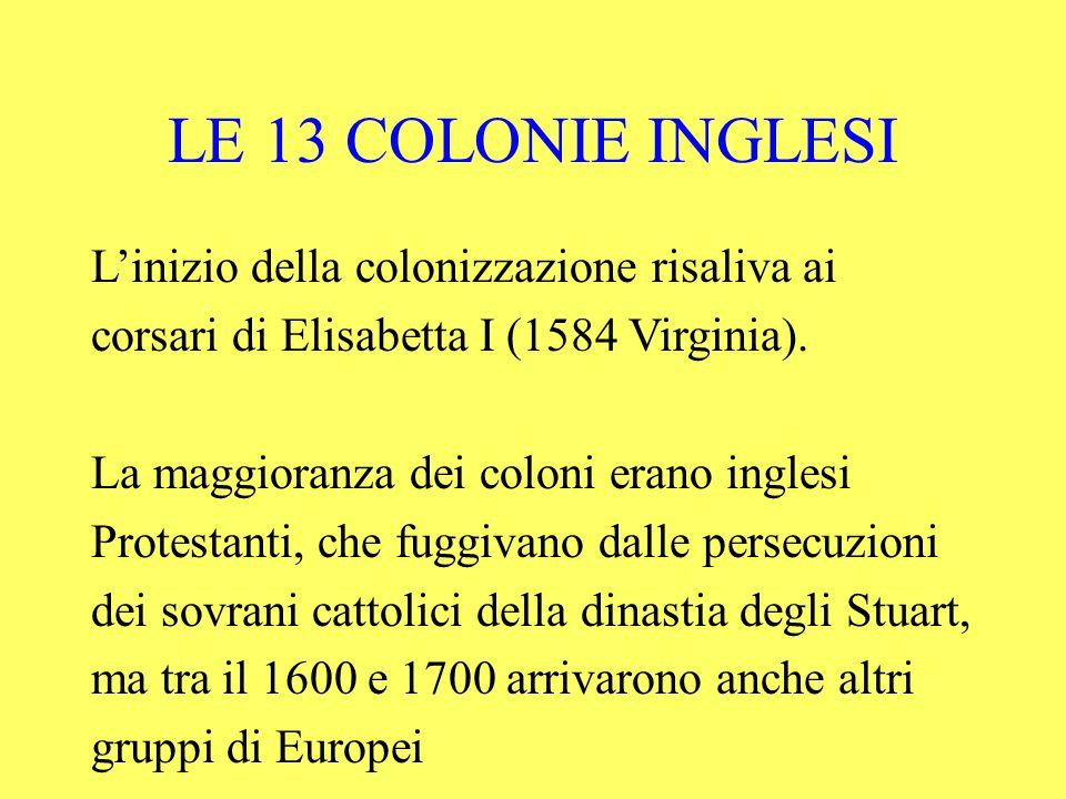 LE 13 COLONIE INGLESI L'inizio della colonizzazione risaliva ai