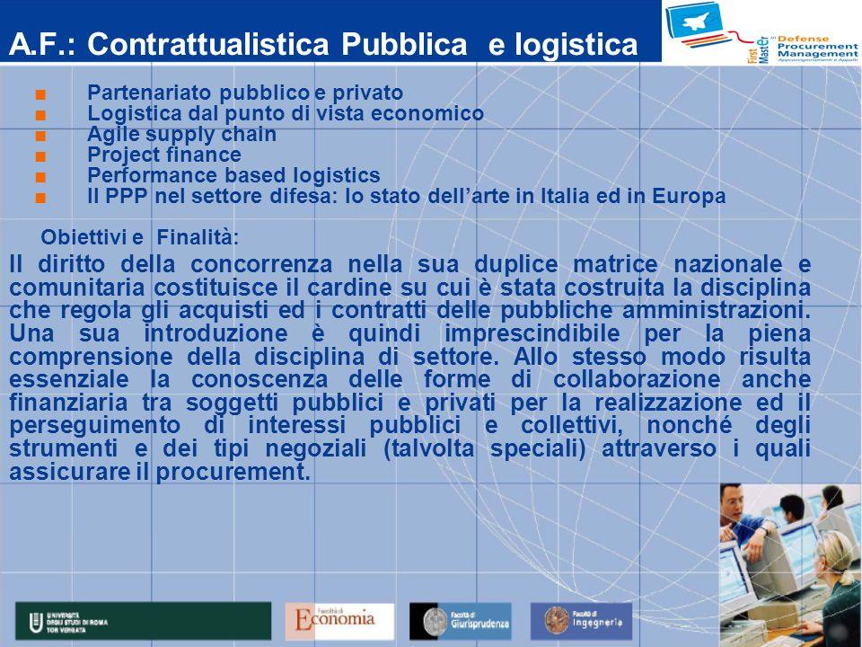 A.F.: Contrattualistica Pubblica e logistica