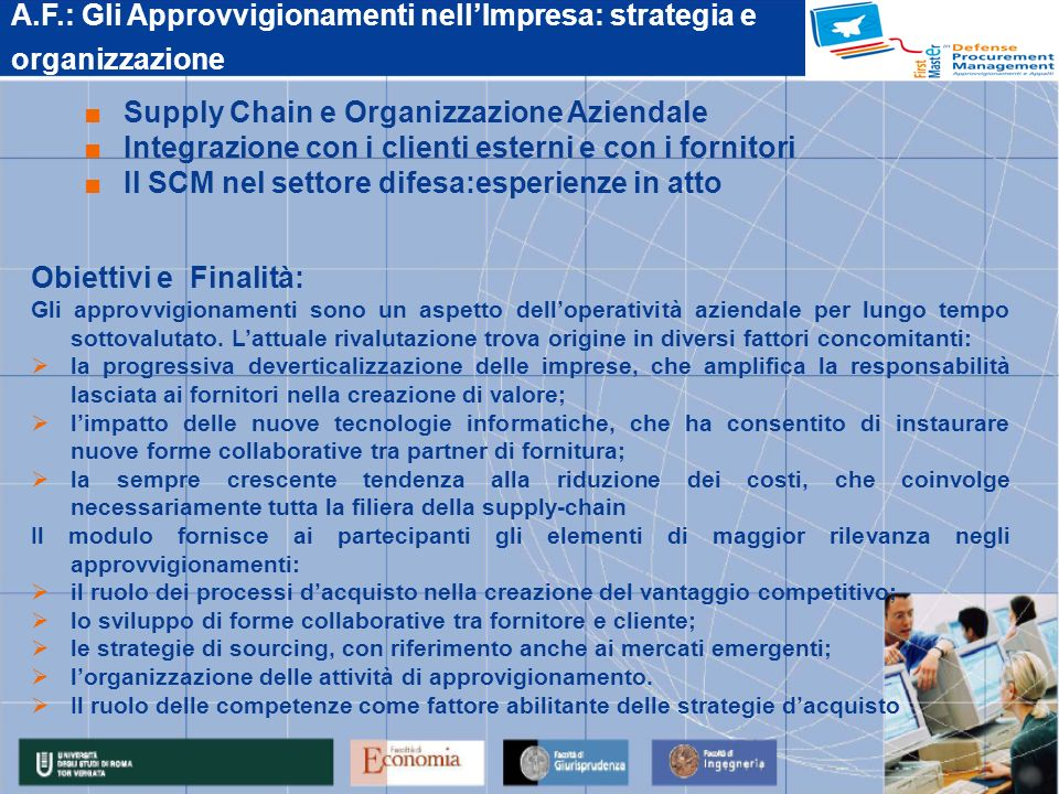 A.F.: Gli Approvvigionamenti nell'Impresa: strategia e organizzazione