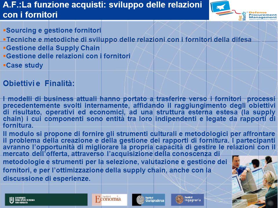 A.F.:La funzione acquisti: sviluppo delle relazioni con i fornitori